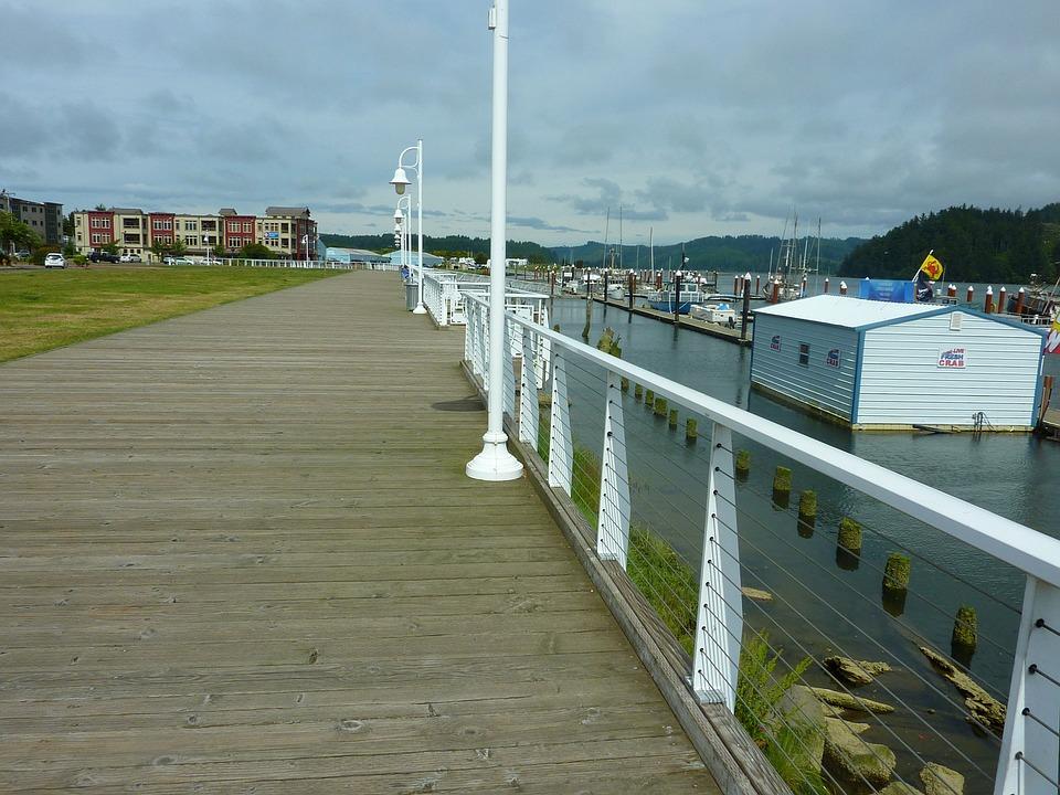 Florence Oregon Boardwalk Pier Harbor Bay Dock
